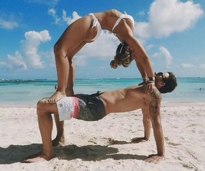 beach, couple, and yoga image