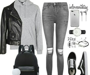 black, grey, and outfit image