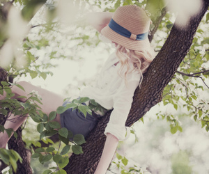 girl, tree, and hat image