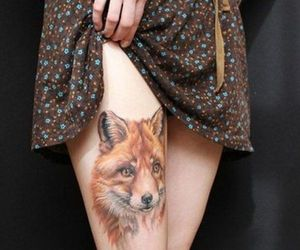 tattoo, fox, and wolf image