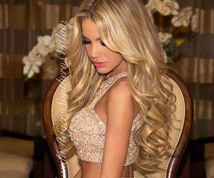 blonde hair, curly hair, and long hair image