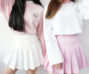 pink, white, and outfits image