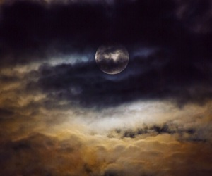 clouds, full moon, and light image