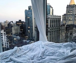 city, bed, and travel image
