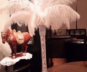 feathers, vase, and white feathers image
