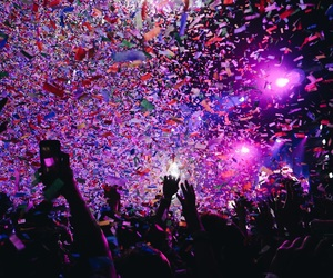 concert, confetti, and feeling image