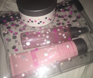 lotion, pink, and spots image
