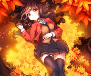 anime, autumn, and girl image