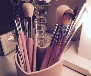 Brushes, heart, and makeup image