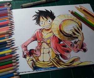 drawing, one piece, and luffy image