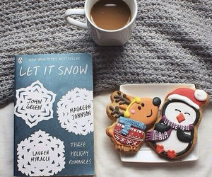 book, winter, and coffee image
