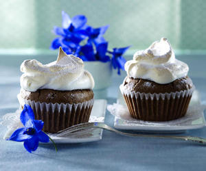 blue, chocolate, and cupcake image