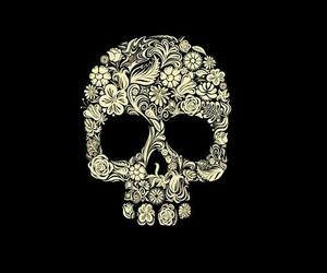 skull, floral, and skeleton image