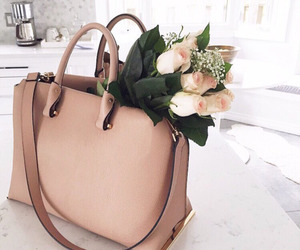 flowers, bag, and rose image