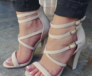 high heels, open toe, and shoes image