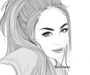 girl, outline, and black and white image