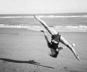 beach, gymnastics, and sea image