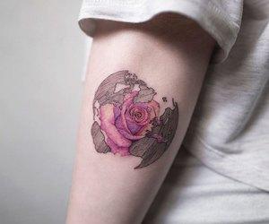 rose, tattoo, and world image