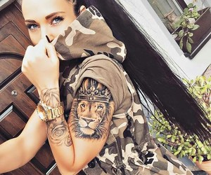 beauty, lion, and tattoo girl image