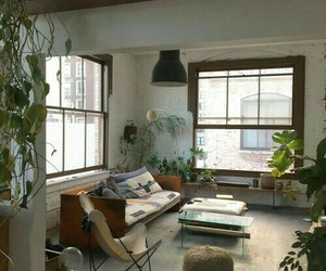 home, plants, and loft image