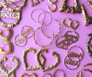 earrings, gold, and ghetto image