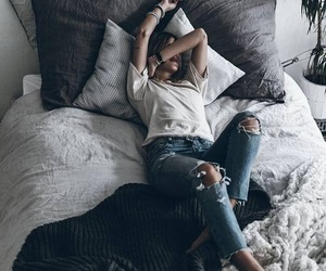 girl, morning, and bed image