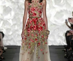 beautiful, roses, and dress image