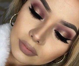 burgundy, eyelashes, and smoky eye image