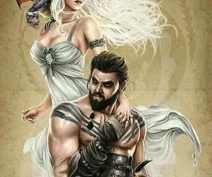 game of thrones, khal drogo, and daenerys targaryen image