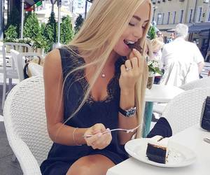 girl, blonde, and cake image