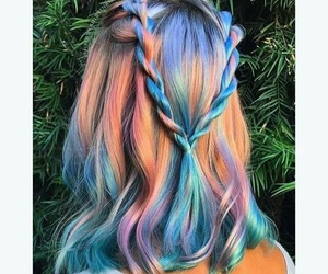 hair, hairstyle, and rainbow image