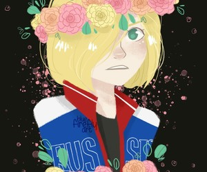 flower crown, yurio, and yuri on ice image