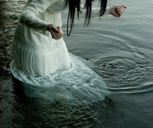 water, girl, and white image