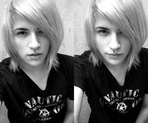 black and white, boy, and hair image