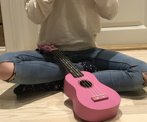 girl, pink, and ripped jeans image