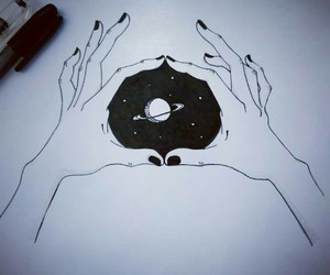 art, galaxy, and hands image