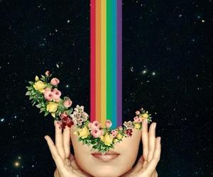 rainbow, flowers, and art image