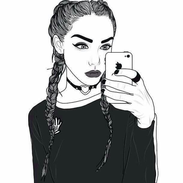 Fille Dessin Noir Et Blanc On We Heart It