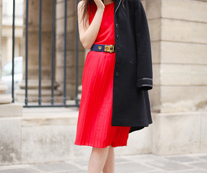 coat, lady, and red dress image