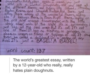 doughnuts, essay, and Letter image