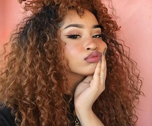 curly, hair, and makeup image