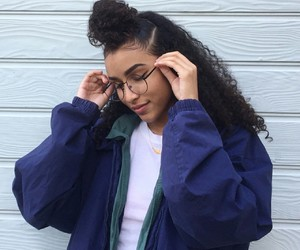 curly hair, glasses, and tumblr image