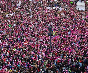 woman, pink, and women's march image