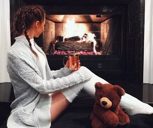 fashion, fireplace, and girl image