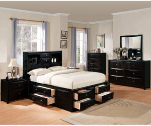 bedroom, wood, and black image