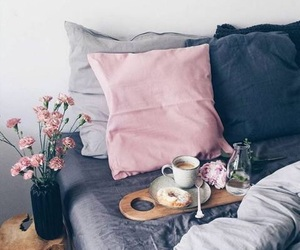 bed, bedroom, and flowers image