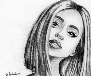 girl, pencil, and pencil drawing image