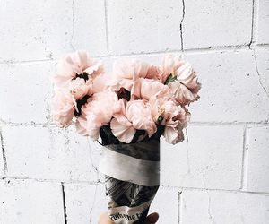 bouquet, wall, and pale pink image