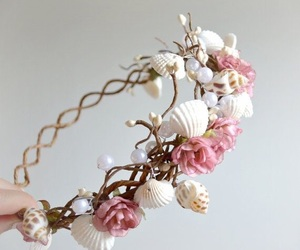 pink, flowers, and mermaid image