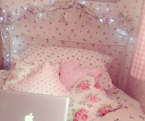 bed, decor, and girls image
